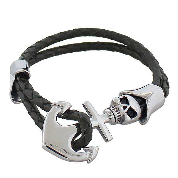 EDFORCE Stainless Steel Black Leather Silver-Tone Anchor Skull Pirate Men's Wristband Bracelet