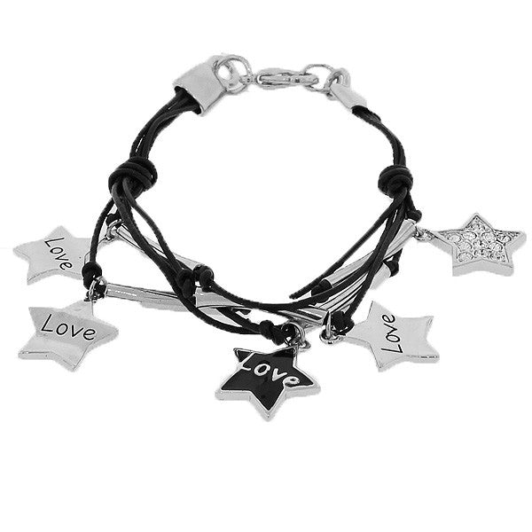 Fashion Alloy Silver-Tone Black Love Hearts Stars Charms White CZ Bracelet