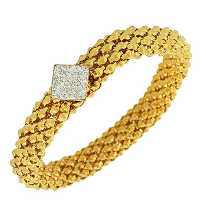 EDFORCE Stainless Steel Yellow Gold-Tone White CZ Stretch Mesh Bracelet