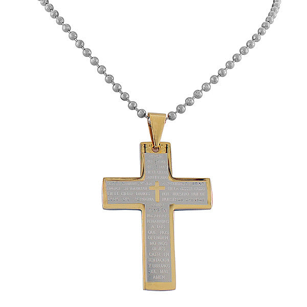 EDFORCE Stainless Steel Two-Tone Padre Nuestro Lord's Prayer in Spanish Cross Necklace