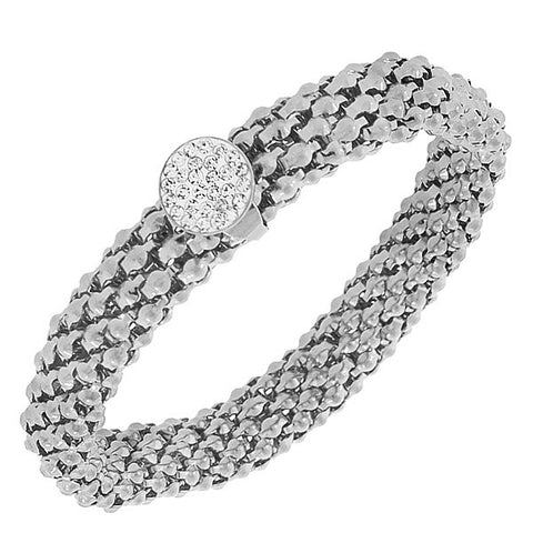 EDFORCE Stainless Steel Silver-Tone White CZ Stretch Mesh Bracelet