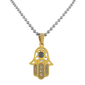 EDFORCE Stainless Steel Yellow Gold-Tone Simulated Onyx Hamsa Pendant Necklace