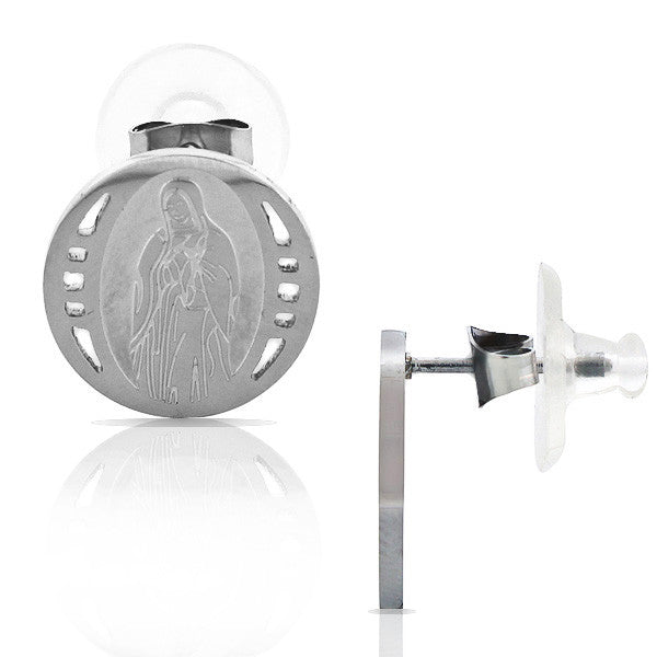 EDFORCE Stainless Steel Silver-Tone Round Virgin Mary Religious Stud Earrings