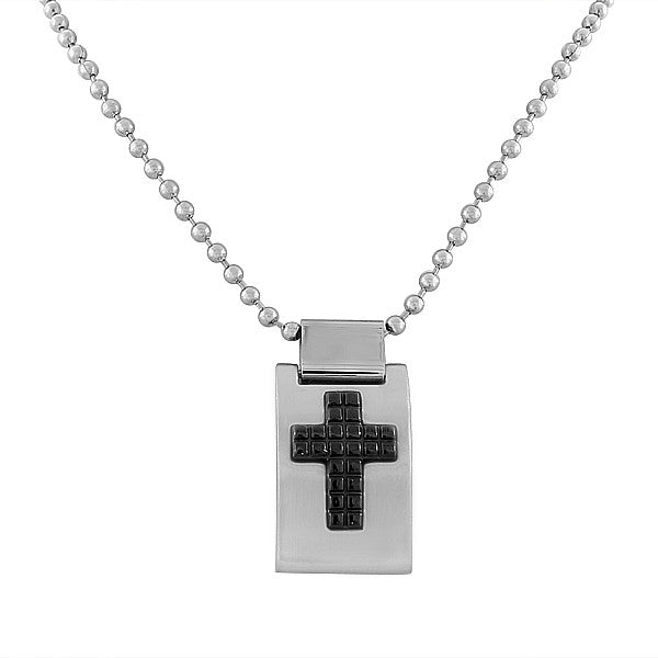 EDFORCE Stainless Steel Silver-Tone Black Cross Religious Pendant Necklace