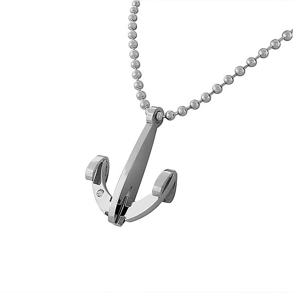 EDFORCE Stainless Steel Silver-Tone Large Anchor Men's Pendant Necklace