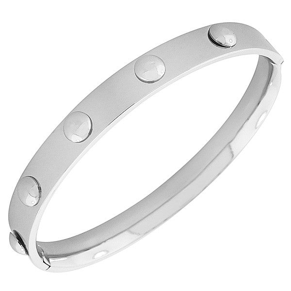 EDFORCE Stainless Steel Oval-Shaped Silver-Tone Bangle Bracelet