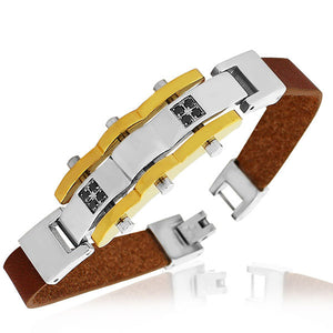 Stainless Steel Brown Leather Two-Tone Black CZ Men's Bracelet