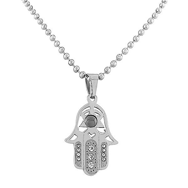 EDFORCE Stainless Steel Silver-Tone Simulated Onyx Hamsa Pendant Necklace