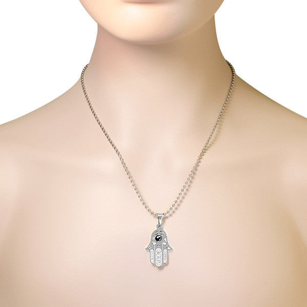 Hamsa Star of David Pendant Stainless Steel CZ