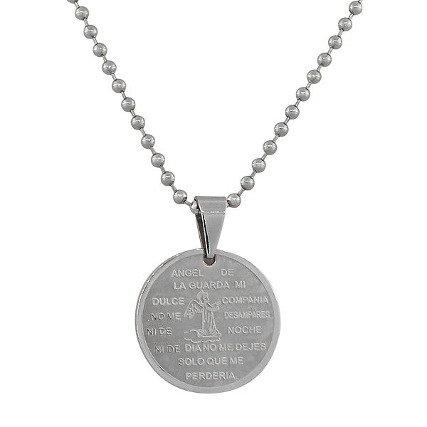 EDFORCE Stainless Steel Silver-Tone Guardian Andel De La Guarda Religious Pendant Necklace