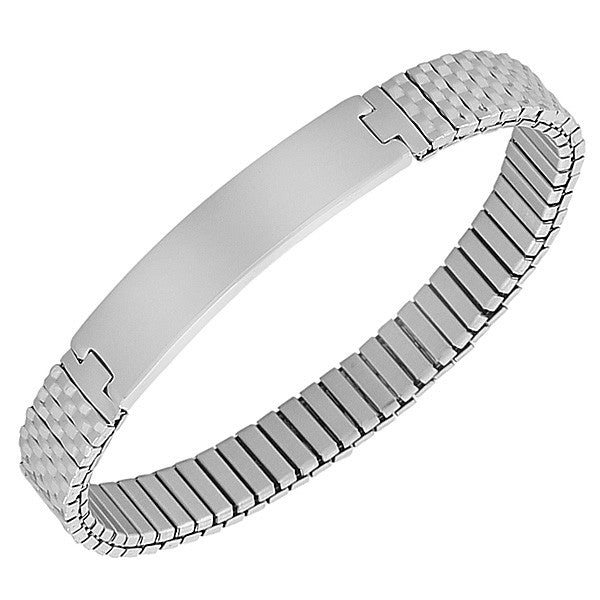 EDFORCE Stainless Steel Silver-Tone Name Tag Stretch Bracelet