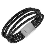 EDFORCE Stainless Steel Black Braided Leather Multi-Row Silver-Tone Men's Wristband Bracelet