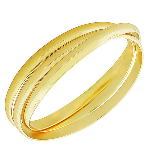 EDFORCE Stainless Steel Yellow Gold-Tone Interlocked Three Bangle Bracelets Set