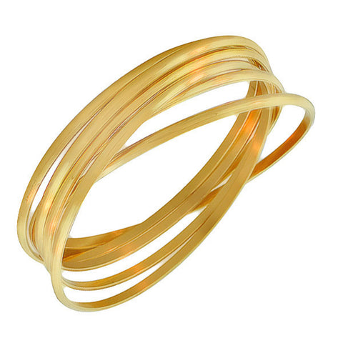 EDFORCE Stainless Steel Yellow Gold-Tone Interlocked Six Bangle Bracelets Set