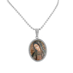 EDFORCE Stainless Steel Silver-Tone Virgin Mary Religious Pendant Necklace