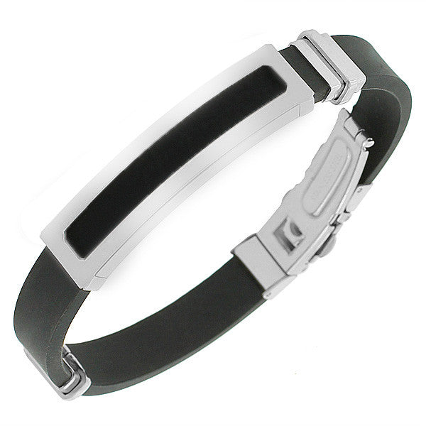 EDFORCE Stainless Steel Black Rubber Silicone Silver-Tone Men's Bracelet