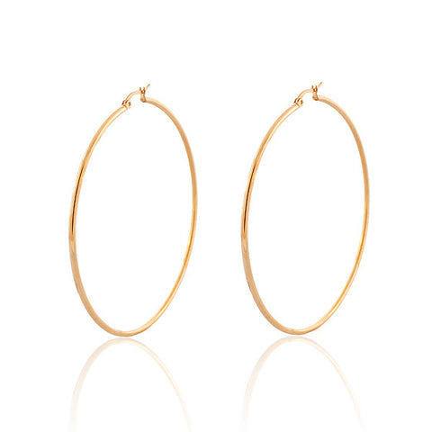 "EDFORCE Stainless Steel Rose Gold-Tone Classic Large 2.5"" Round Hoop Earrings"
