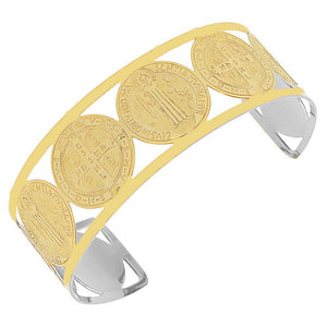 EDFORCE Stainless Steel Yellow Gold-Tone Cross St. Benedict Religious Christian Open End Cuff Bangle