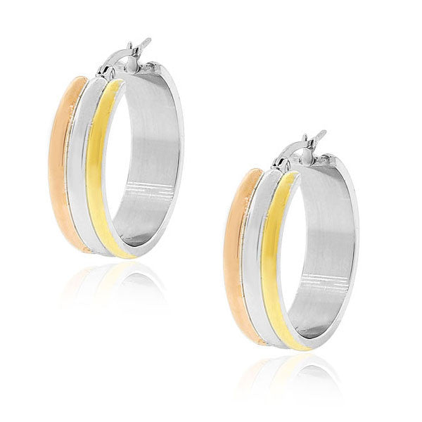 "EDFORCE Stainless Steel Gold-Tone and Silver-Tone Classic Polished Hoop Earrings 1.0"" Diameter"