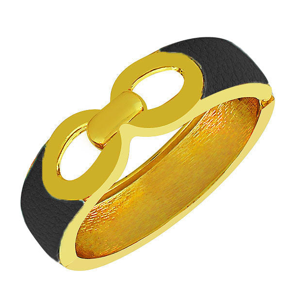 Fashion Alloy Yellow Gold-Tone Black Faux PU Leather Bangle Bracelet