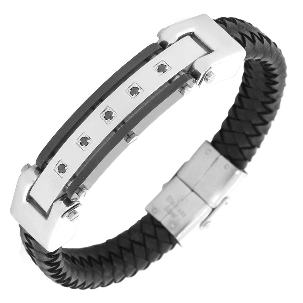 Stainless Steel Silver-Tone Black Leather CZ Men's Bracelet