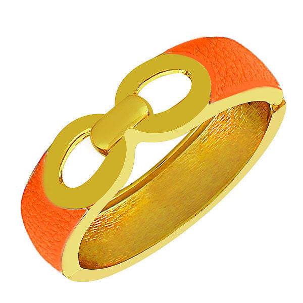 Fashion Alloy Yellow Gold-Tone Orange Faux PU Leather Bangle Bracelet