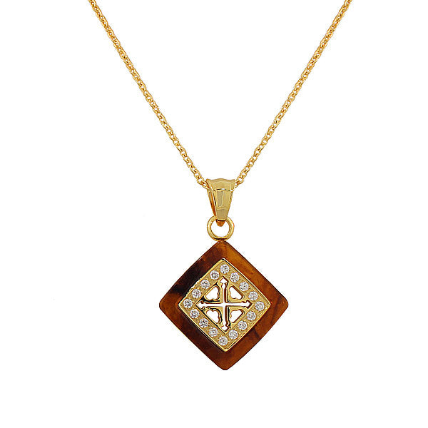 Stainless Steel Yellow Gold-Tone Simulated Amber White CZ Pendant Necklace