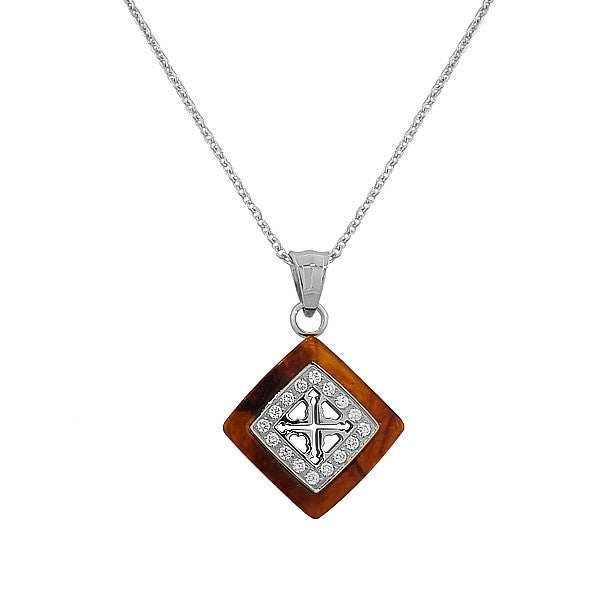 Stainless Steel Silver-Tone Simulated Amber White CZ Pendant Necklace
