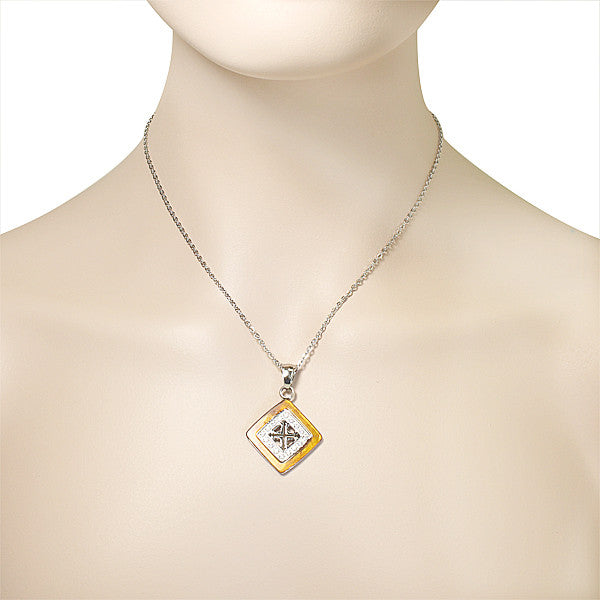 Stainless Steel Cubic Zirconia Amber Pendant Necklace