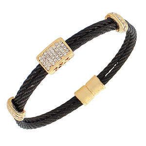 Fashion Alloy Black Yellow Gold-Tone White CZ Twisted Cable Bangle Bracelet
