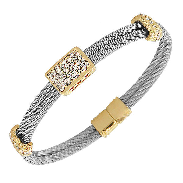 Fashion Alloy Silver Yellow Gold-Tone White CZ Twisted Cable Bangle Bracelet