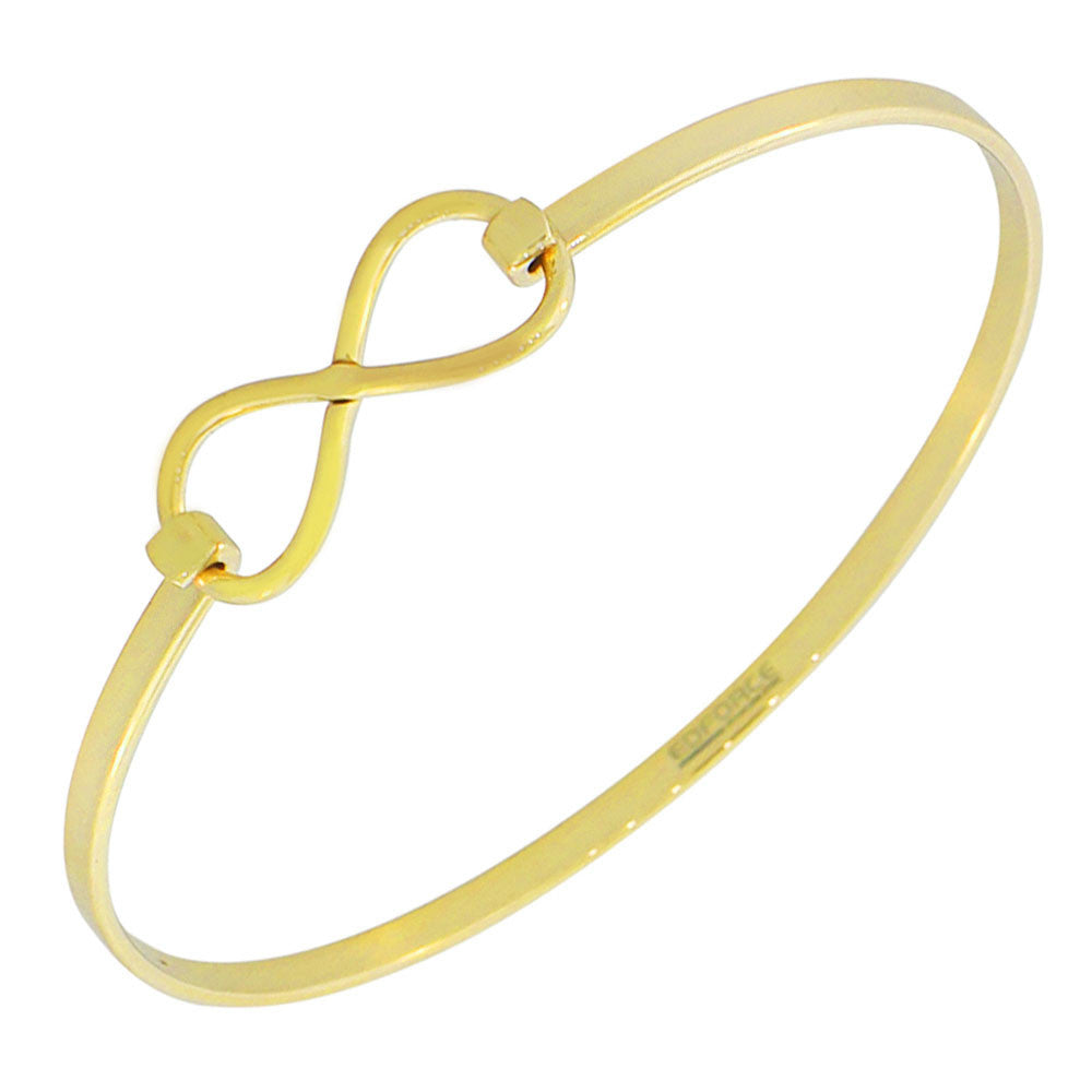 EDFORCE Stainless Steel Yellow Gold-Tone Infinity Bangle Bracelet