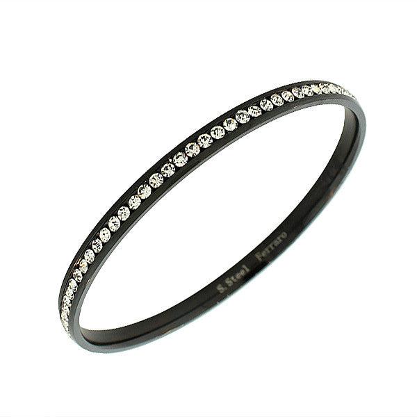 Stainless Steel Black White CZ Classic Round Bangle Bracelet