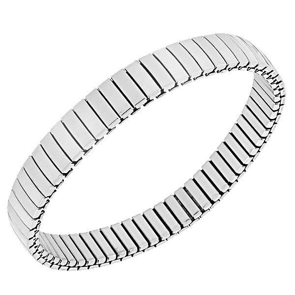 Stainless Steel Silver-Tone Classic Polished Stretch Mesh Bracelet