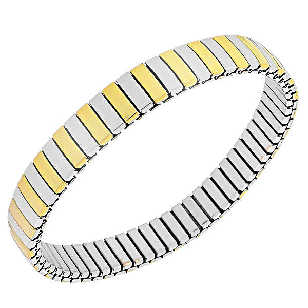 Stainless Steel Two-Tone Classic Polished Stretch Mesh Bracelet