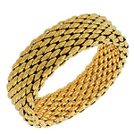 Stainless Steel Yellow Gold-Tone Mesh Wide Stretch Bangle Bracelet