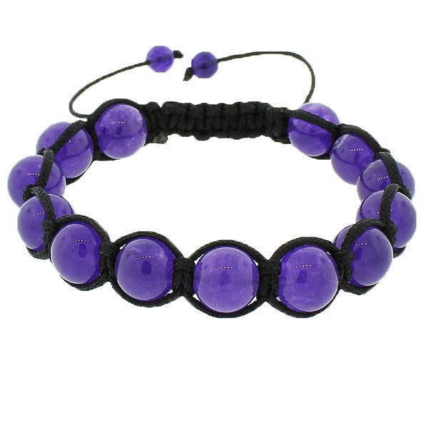 Deep Purple Violet Ball Black Cord Adjustable Macrame Beaded Bracelet