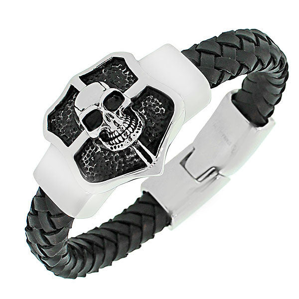 Stainless Steel Black Leather Silver-Tone Skull Men's Bracelet