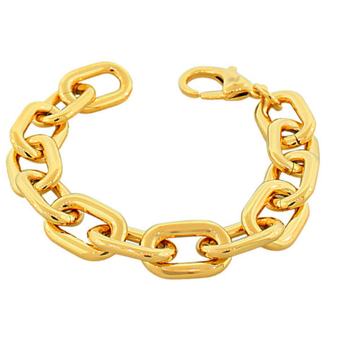 Stainless Steel Gold-Tone Large Chunky Links Chain Bracelet