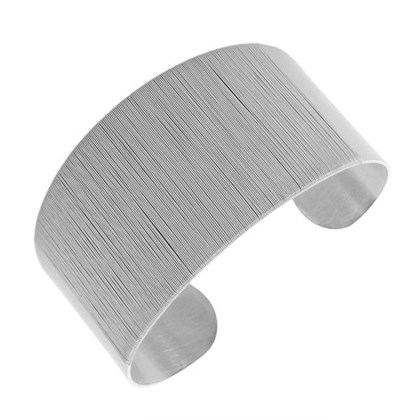 Stainless Steel Silver-Tone Wrap Bangle Bracelet with Open End