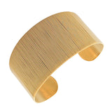 Stainless Steel Yellow Gold-Tone Wrap Bangle Bracelet with Open End