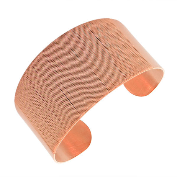 Stainless Steel Rose Gold-Tone Wrap Bangle Bracelet with Open End