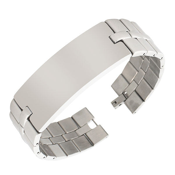 Stainless Steel Silver-Tone Polished Name Tag Wide Heavy Men's Link Chain Bracelet