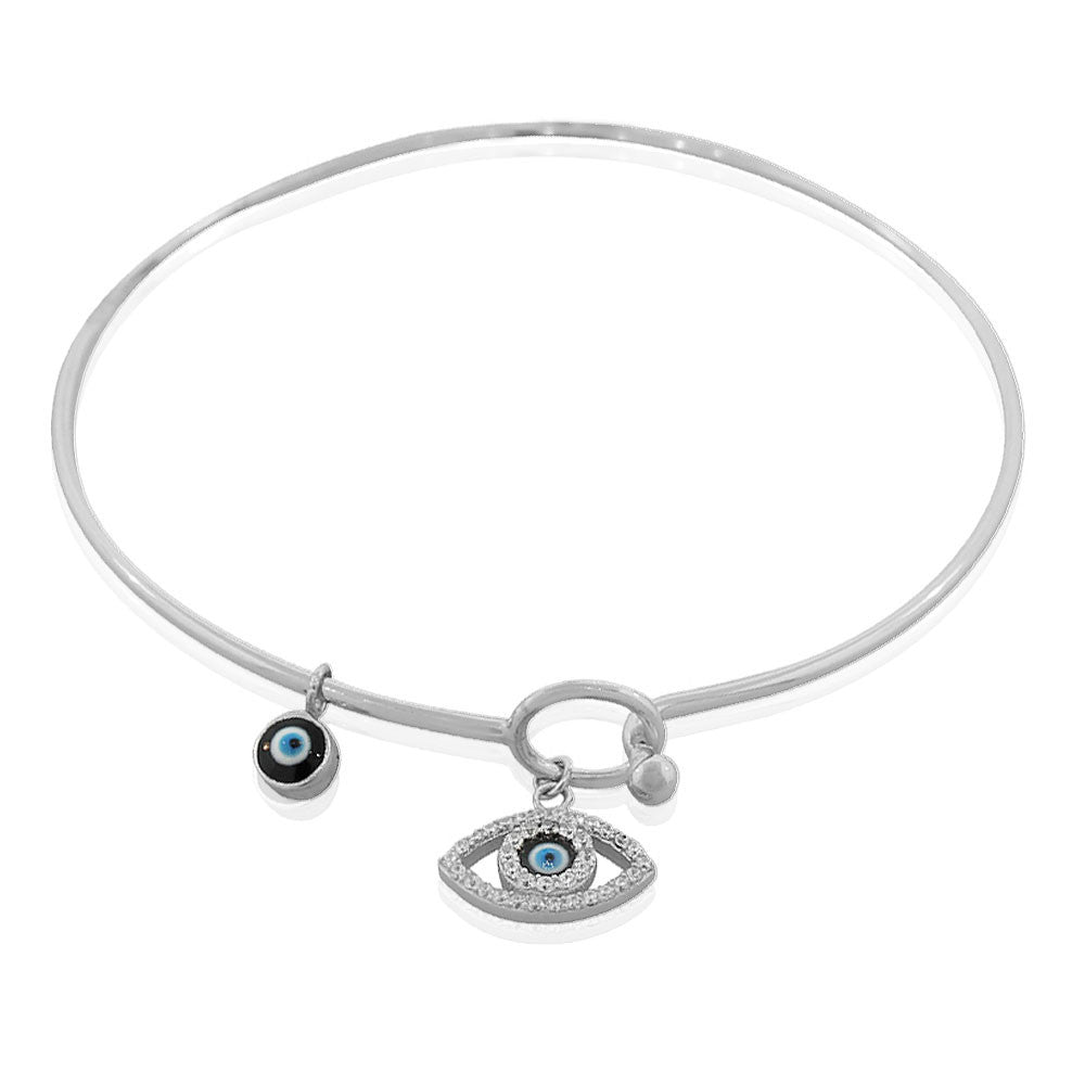 925 Sterling Silver White Blue Evil Eye Protection Bangle Bracelet