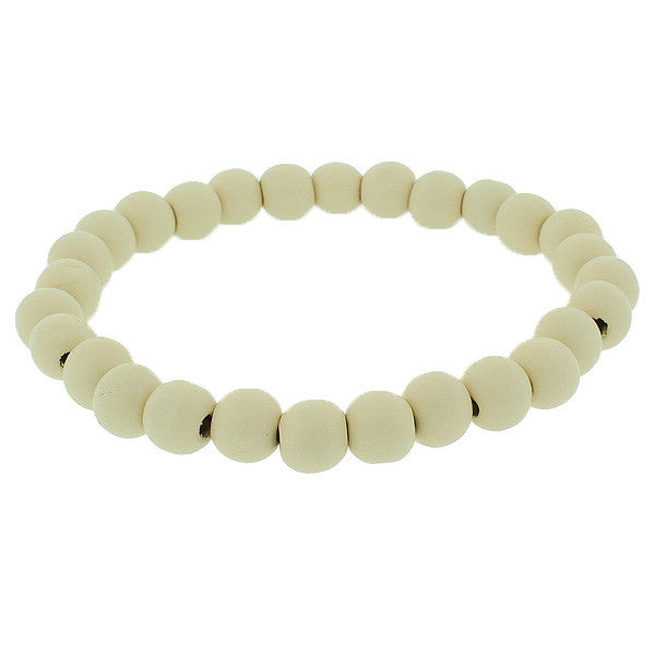 White Ivory-Tone Wood Beaded Stretch Cord Bangle Bracelet