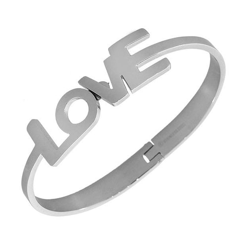 Stainless Steel Oval-Shaped Silver-Tone Love Heart Bangle Bracelet