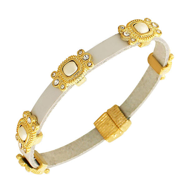 Fashion Alloy White Leather Yellow Gold-Tone CZ Simulated Pearls Wristband Wrap Bracelet