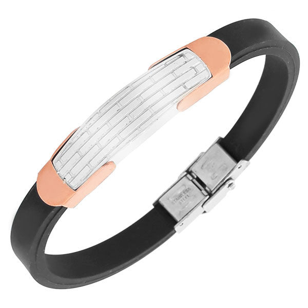 Stainless Steel Black Rubber Silicone Rose Gold-Tone Silver-Tone Men's Bangle Bracelet