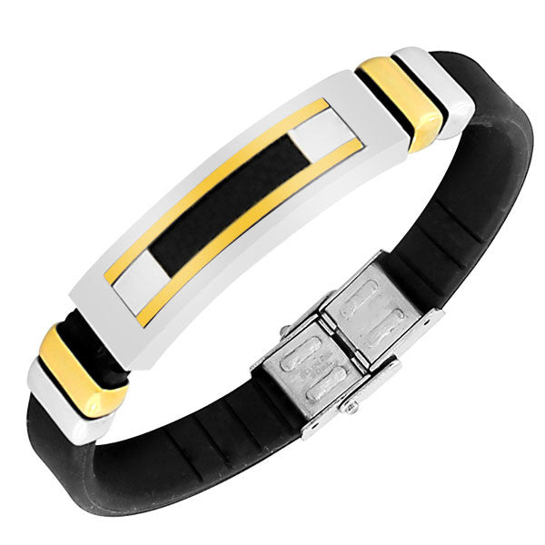 Stainless Steel Black Rubber Silicone Two-Tone Simulated Carbon Fiber Men's Bracelet