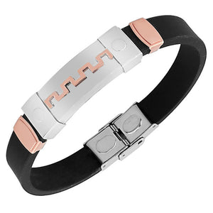 Stainless Steel Black Rubber Silicone Rose Gold-Tone Silver-Tone Greek Key Men's Bracelet